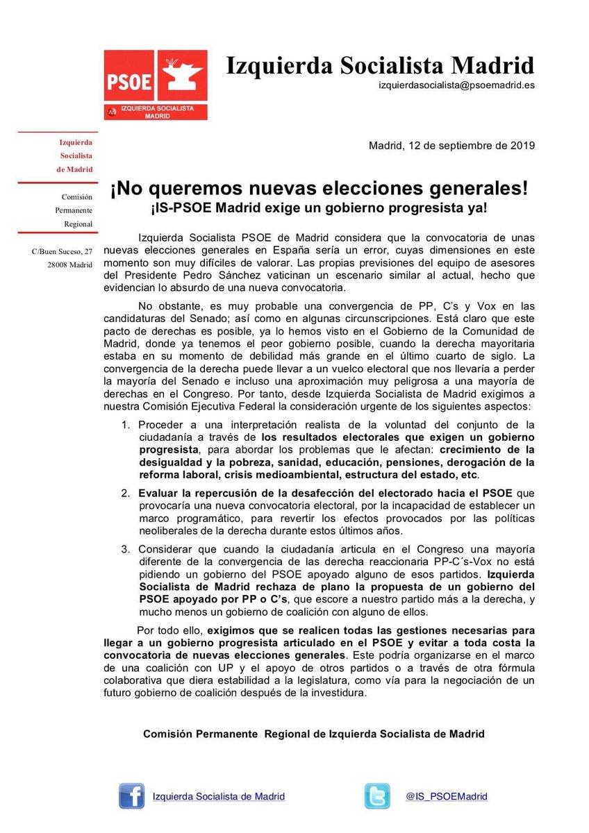 Izquierda Socialista, una corriente del PSOE, exige un Gobierno de coalición para no repetir elecciones