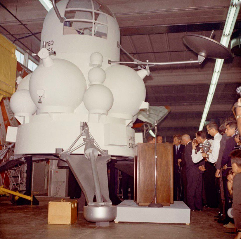 JFK looks at prototype of future Apollo lunar landing module, Houston, today 1962:                     #JFKL