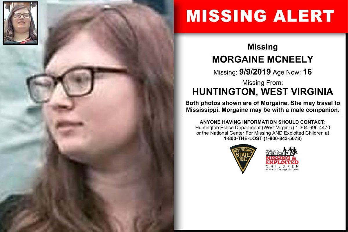 #AMBERAlert Morgaine McNeely (pronounced Morgan), age 16. Last seen entering a vehicle with a 16-y.o. male named Jacob Brown. May travel to Mississippi. If you've seen her, please contact Huntington, WV police department, or the National Center for Missing and Exploited Children. <br>http://pic.twitter.com/YrGLDY5XOV