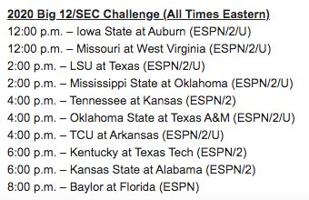 Tipoff Times Announced For Big 12/SEC Challenge Games