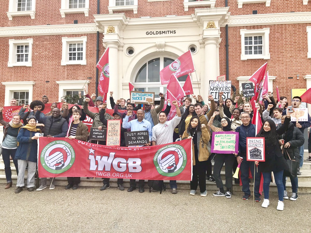 🚨BREAKING NEWS🚨 Following a council meeting today @GoldsmithsUoL has agreed to bring security guards in-house by February 2020 as demanded by the campaign! This is great news for all the workers involved and goes to show that when workers unite and fight they can win!✊️