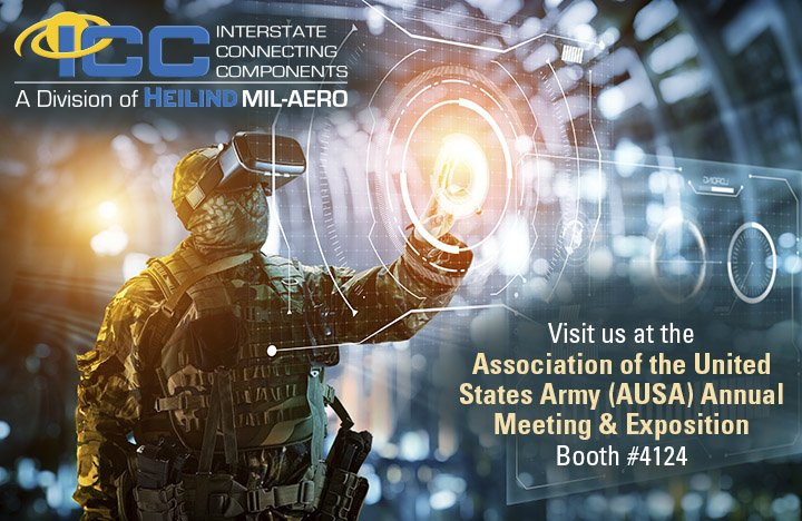 ICC will be at the @AUSAorg show next month! Visit booth 4124 to see products from leading mil-aero interconnect manufacturers like @AmphenolACC @AmphenolPCD @SVMicrowave @CinchConnectors @Glenair_Inc and @TEConnectivity. Register now: https://t.co/WEc1qJGOfT. #AUSA #AUSA2019 https://t.co/wqxhmJ0aAU