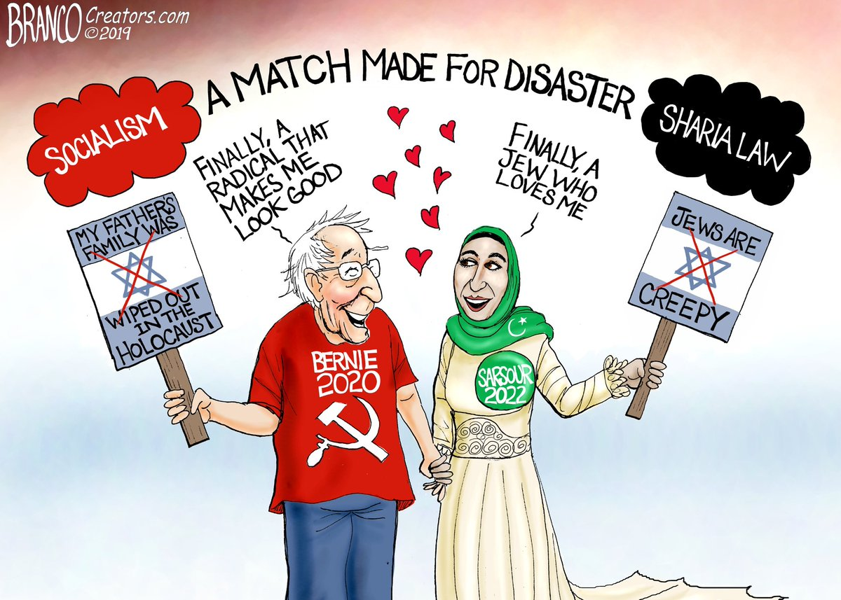 Image result for bernie sanders linda sarsour cartoon