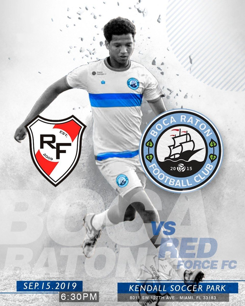 We are back on the pitch this Sunday as we take on a familiar foe in @RedForceFC09! Kickoff is at 6:30 from #KendallSoccerPark!  #BocaNation #BocaRatonFC #LocalSoccerpic.twitter.com/4ZTZsmw1AI