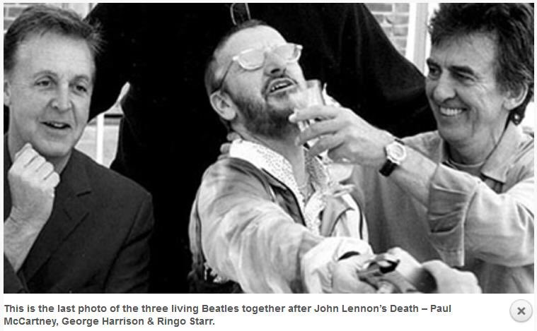 Final photo of Paul, Ringo, and George together taken by Pattie Boyd in 2000