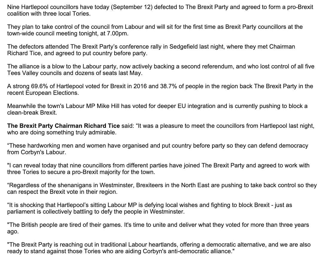 CONFIRMED: BREXIT PARTY AND TORY HARTLEPOOL COUNCIL PACT - PUTTING COUNTRY BEFORE PARTY Chairman @TiceRichard said: I can reveal that nine councillors from different parties have joined The Brexit Party and agreed to work with three Tories to secure a pro-Brexit majority.