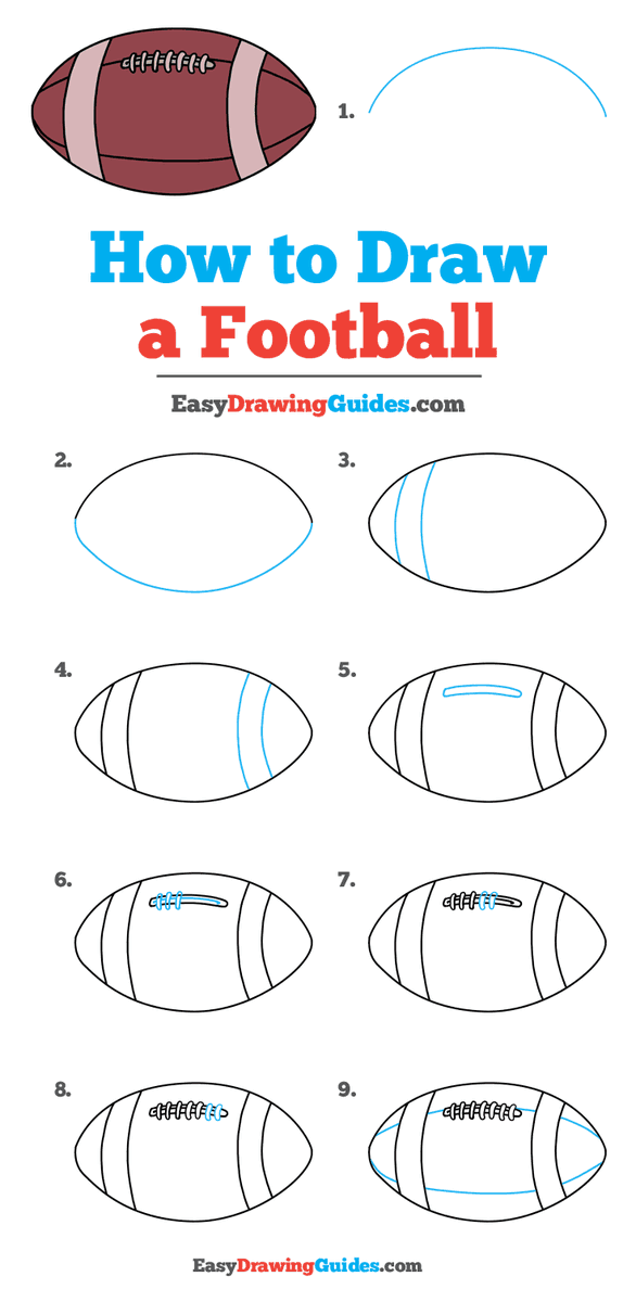 Easy Drawing Guides On Twitter Football Drawing Lesson Free Online Drawing Tutorial For Kids Get The Free Printable Step By Step Drawing Instructions On Https T Co Yubn86xrlw Football Backtoschool Learntodraw Artproject Https T Co Football is a ball which is used in footballl/ soccer game between two teams. football drawing lesson
