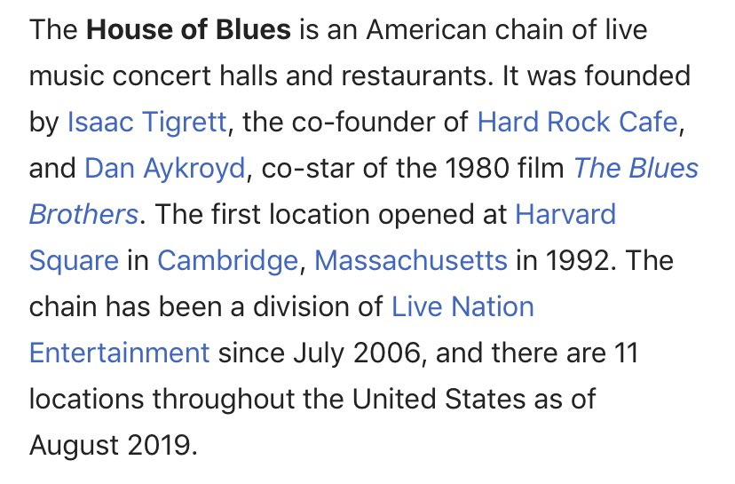 did not know dan akroyd started house of blues