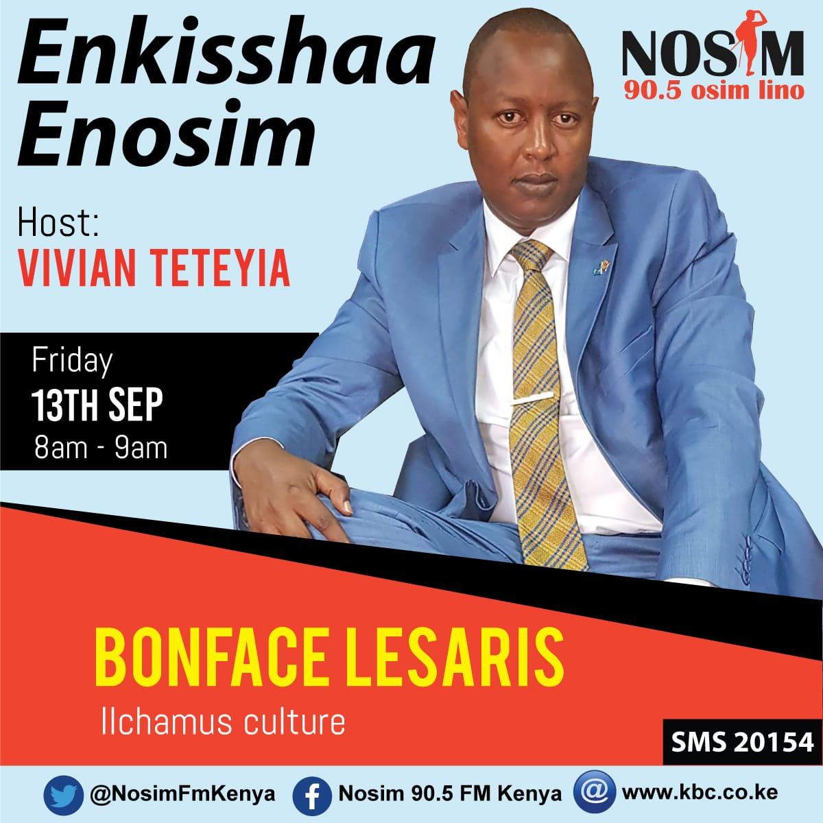 Vivian Teteyia will be hosting Kiongozi Boniface Lesaris live on Radio @NosimFmKenya tomorrow morning from 8am-9am. The conversation will encompass around Ilchamus Culture, MAU forest Conservation, MAA unity among other developments @teteyia @KBCChannel1 @Nkumumjackson1