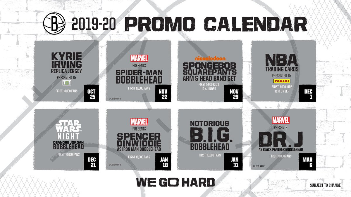 🚨 2019-20 PROMO CALENDAR IS HERE 🚨  Highlights below. Full schedule right here 👉 http://brooklynnets.com/schedule?games=promo …