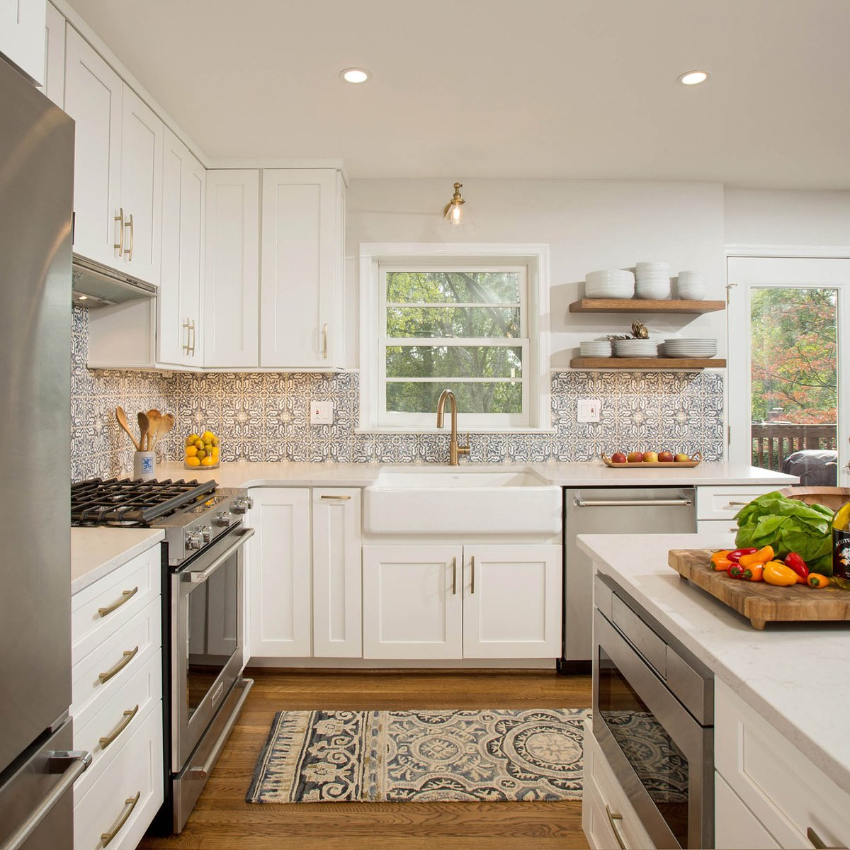 Waypointlivingspaces On Twitter Statement Tile And 650 Painted Linen Spice Up This One Of A Kind Space Anna Gibson Of Virginia Marble In Chantilly Va Designed This Open Concept Kitchen Https T Co 6u7122tkyb Whitekitchen Waypointlivingspaces