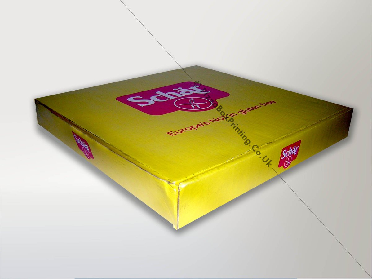 16″ #foodsafe #promotional #pizzabox made with #recycled c-flute #corrugated #kraftpaper stock #printed in two colours for #schar  For #custompizzaboxes, visit https://bit.ly/2Mcilv4  #pizzaboxes #pizzaboxeswholesale #pizzaboxesgogreen #pizzaboxpackaging #pizzaboxprintingukpic.twitter.com/0U8atTEe44