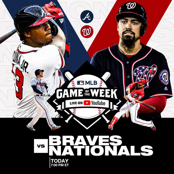 🚨 FREE ⚾️ 🚨  The @Braves are taking on the @Nationals LIVE on @YouTube today at 7:00pm ET.   Catch the action ➡️ https://t