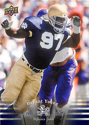 #IrishFootballLegends #BryantYoung earned four monograms 1990-93 helped Irish t40-8-1 record during four years. A first-team All-America selection in 1993 as a senior captaindefensive tackle, started 30 of 41 games totaled 176 tackles, 22.5 tackles for loss 18 sacks