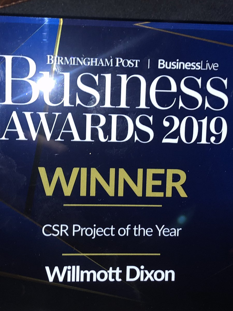 So proud to be able to celebrate our incredible partnership with @WillmottDixon @mariewilkes247 worthy winners of CSR business award. #bpsa19 @birminghampost#changinglives https://t.co/C2W2KwQ9TB