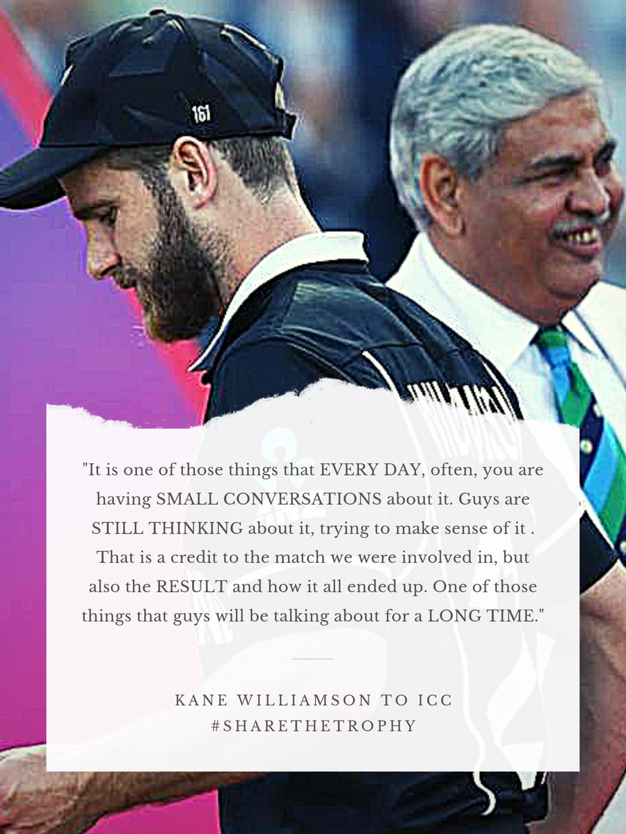 """""""Guys are still thinking about it, trying to make sense of it"""" #KaneWilliamson 👇@ICC do you feel the words? Feel the responsibility of going back and fixing everything? 🤷♂️ For inspiring goodness and growing the game? 🙂#sharethetrophy #yeswekane #backtheblackcaps"""