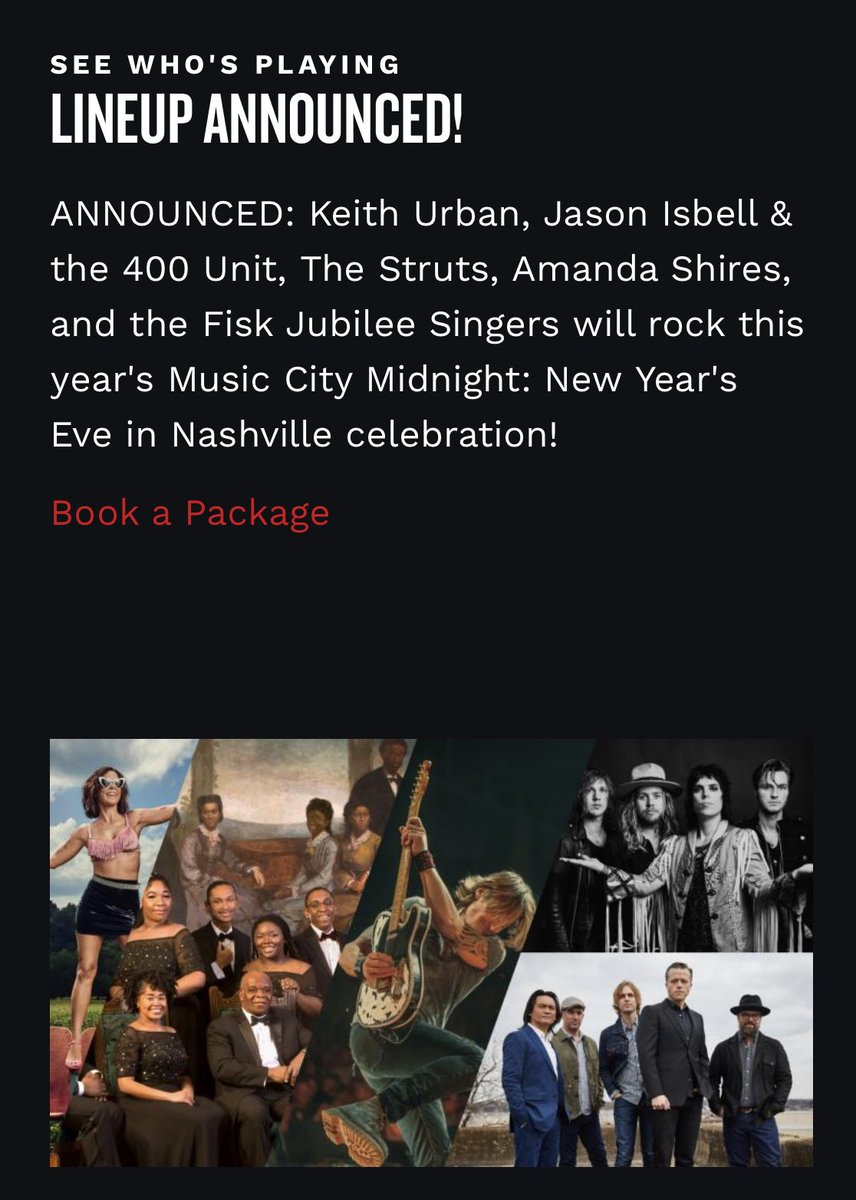 Guess we'll be be staying home in ⁦@visitmusiccity⁩ for #nye again this year. Wow!!! ⁦@KeithUrban⁩ ⁦@JasonIsbell⁩ ⁦@amandashires⁩ ⁦@FiskJubileeSing⁩