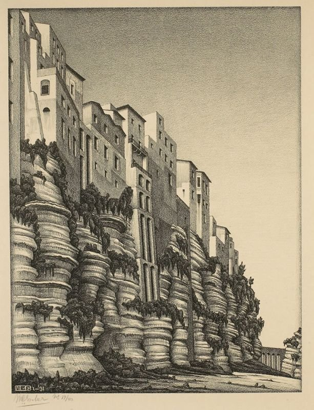 Michel Lara On Twitter M C Escher Made Studies Of Italian Landscapes Before His Famous Geometrical Prints These Are Four Landscape Prints He Drew While Visiting Italy In The 1920 S 30 S Castrovalva 1930 Tropea