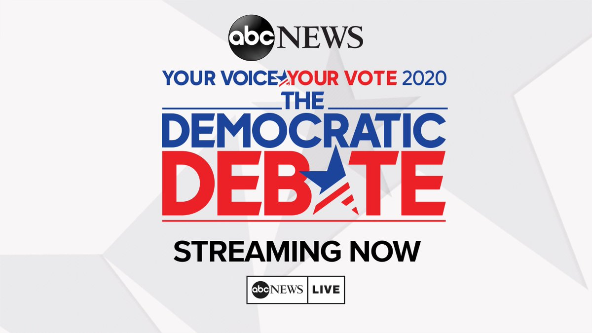 STARTING NOW: Full coverage of the @ABC News 2020 Democratic primary debate. http://abcn.ws/2UNS4UE WATCH LIVE:📱: ABC News app💻: http://abcnews.com/live 📺: Roku, Hulu, ABC News, Univision