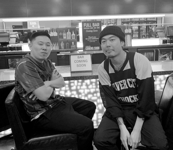 Just ran into Jin and dumbfoundead at the screening, happy bday yao ming 4real