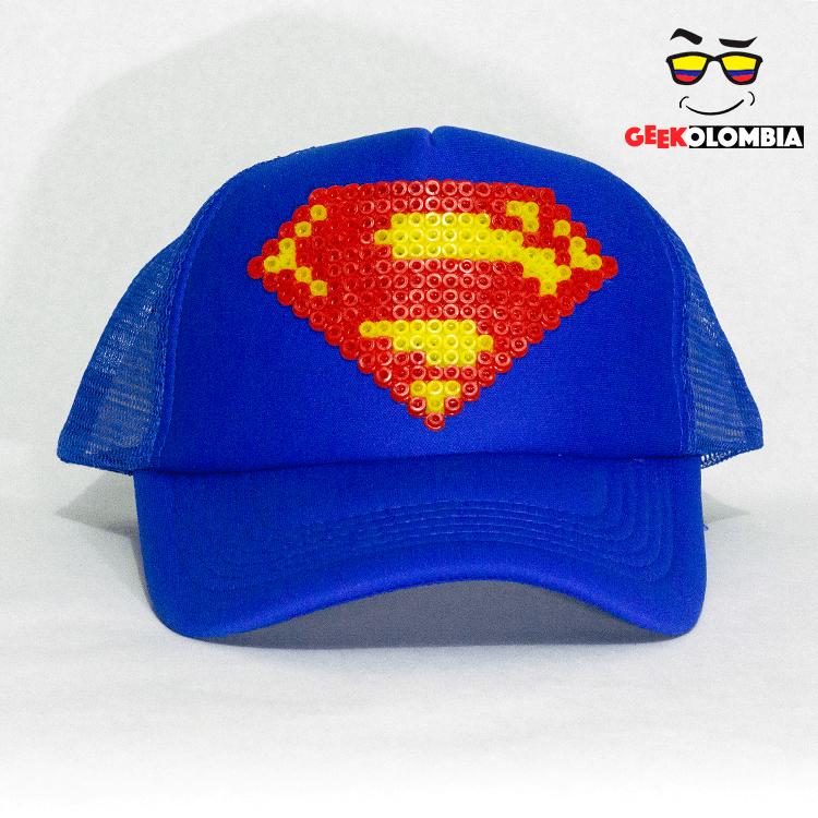 Gorra De Pixel Logo Superman Dc Super Heroe De La Liga De