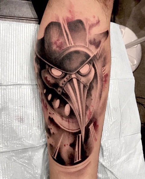 #Tattoo Awesome of the Day: #Steampunk ⚙️ Plague Doctor Mask & Clock 🕒 Arm Piece by Chris Gagnon via @revolttattoos #SamaTattoo