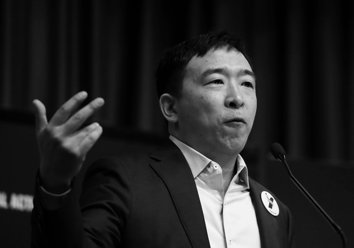"""Re-Meet ANDREW YANG: The most noise he's made since the last debate was a crowd surfing stunt.   But he's also suggested adding a """"green"""" amendment to the U.S. Constitution, reiterated his """"love"""" for the #GreenNewDeal, and expressed plans to eliminate commercial air travel. <br>http://pic.twitter.com/EnlA9RrvPu"""