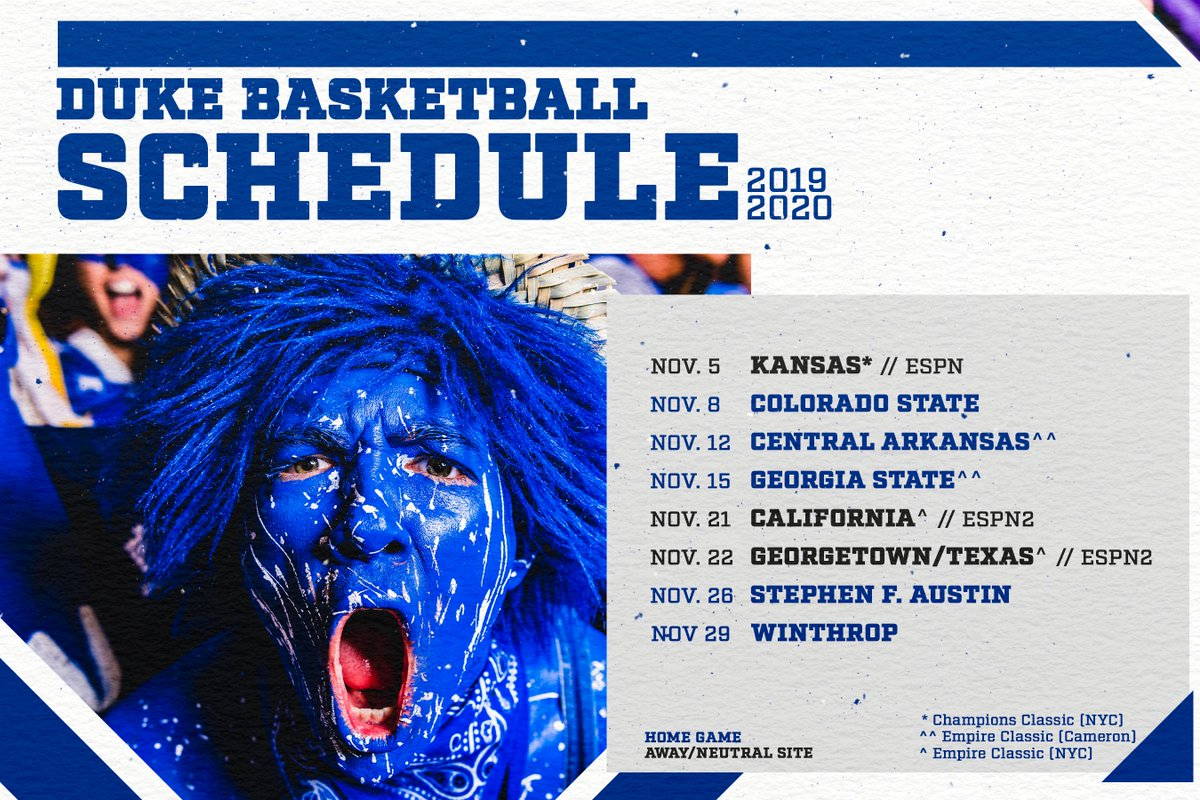 📺🚨 2019-20 SCHEDULE IS OFFICIAL 🚨📺 #HereComesDuke 📺👀🔵👿