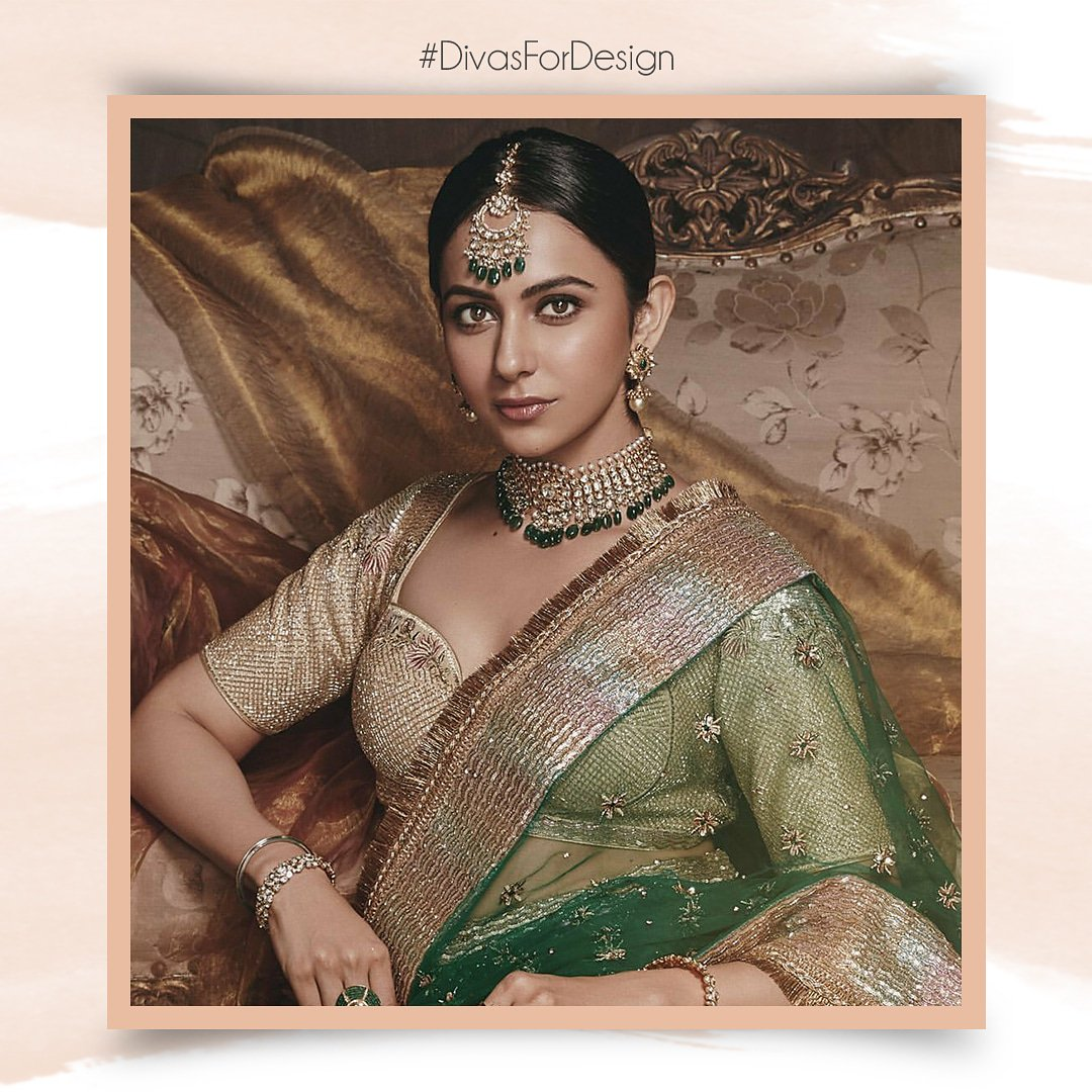 #DivasForDesign...@Rakulpreet adorning exquisite emerald & uncut diamond bridal jewellery by ANMOL for #ShilpiGuptaCouture ad campaign. Styled by @eshaamiin  Photographed by @rahuljhangiani  HMU #SavleenManchanda  #EraofDesign #InherentlyLuxe