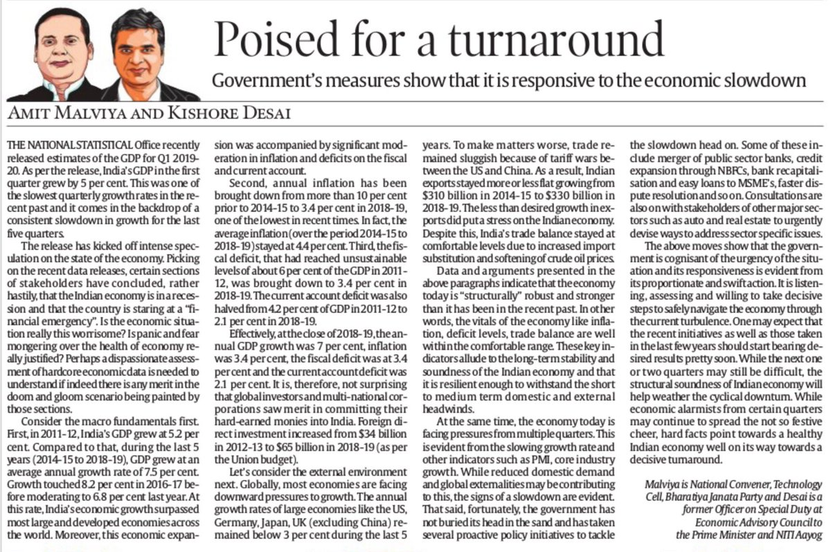 """In this piece, @kishore1810 and I write that Indian economy today is """"structurally"""" robust and stronger than it has been in the recent past and why the pessimism around it is unwarranted... https://t.co/qd7TDCZoiC https://t.co/ib72i2Rj7i"""