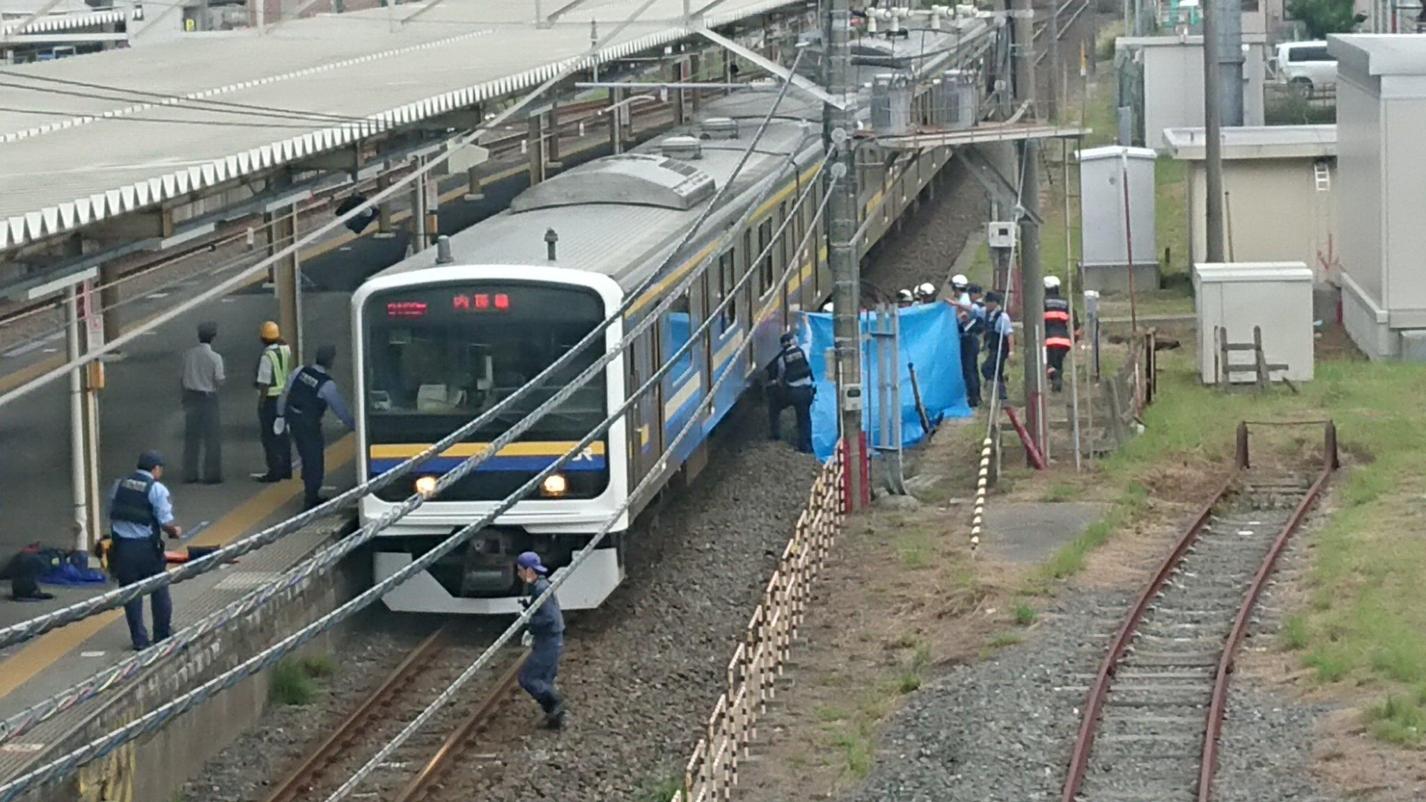 内房線の姉ヶ崎駅の人身事故でブルーシートで隠している現場画像