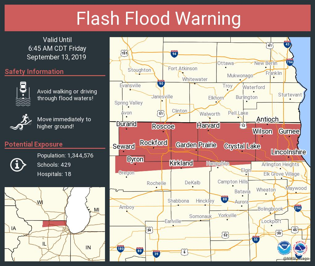 nws chicago on twitter flash flood warning including rockford il waukegan il crystal lake il until 6 45 am cdt nws chicago on twitter flash flood