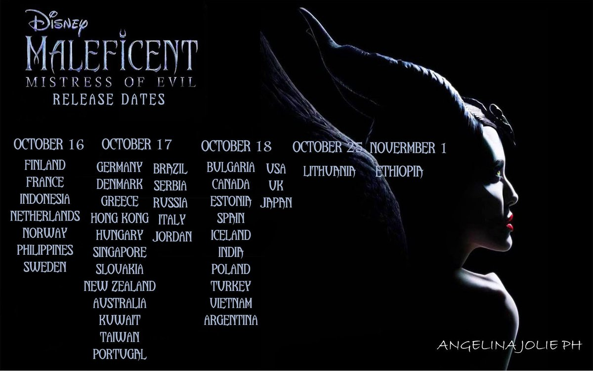 Angelinajolieph On Twitter The Release Dates Of Maleficent