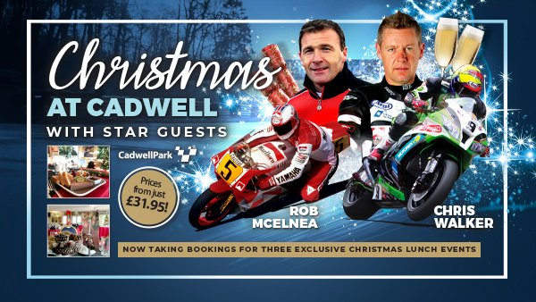 Still arguing over the annual office Christmas party? Want to do something seriously different this year? Look no further… Cadwell Park once again hosts its festive gatherings, incl our heritage tour and audiences with two bike heroes. Full details here > bit.ly/32w9Iim