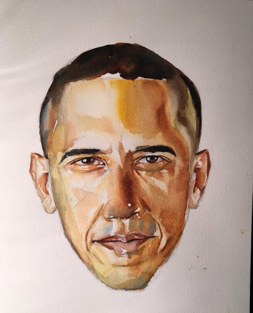 Barack Obama Watercolor on cotton