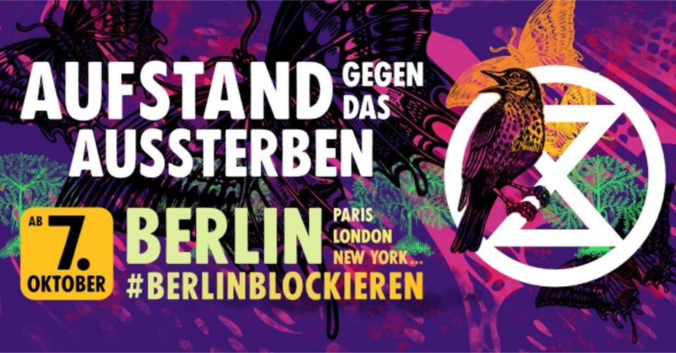 This is a public announcement 📢. @ExtinctionR_DE will shutdown Berlin from 7 October to force their government to #ActNow on the climate and ecological emergency 🚨: facebook.com/events/4617448… @XRBerlin #InternationalRebellion #WorldwideRebellion #RebelBeyondBorders