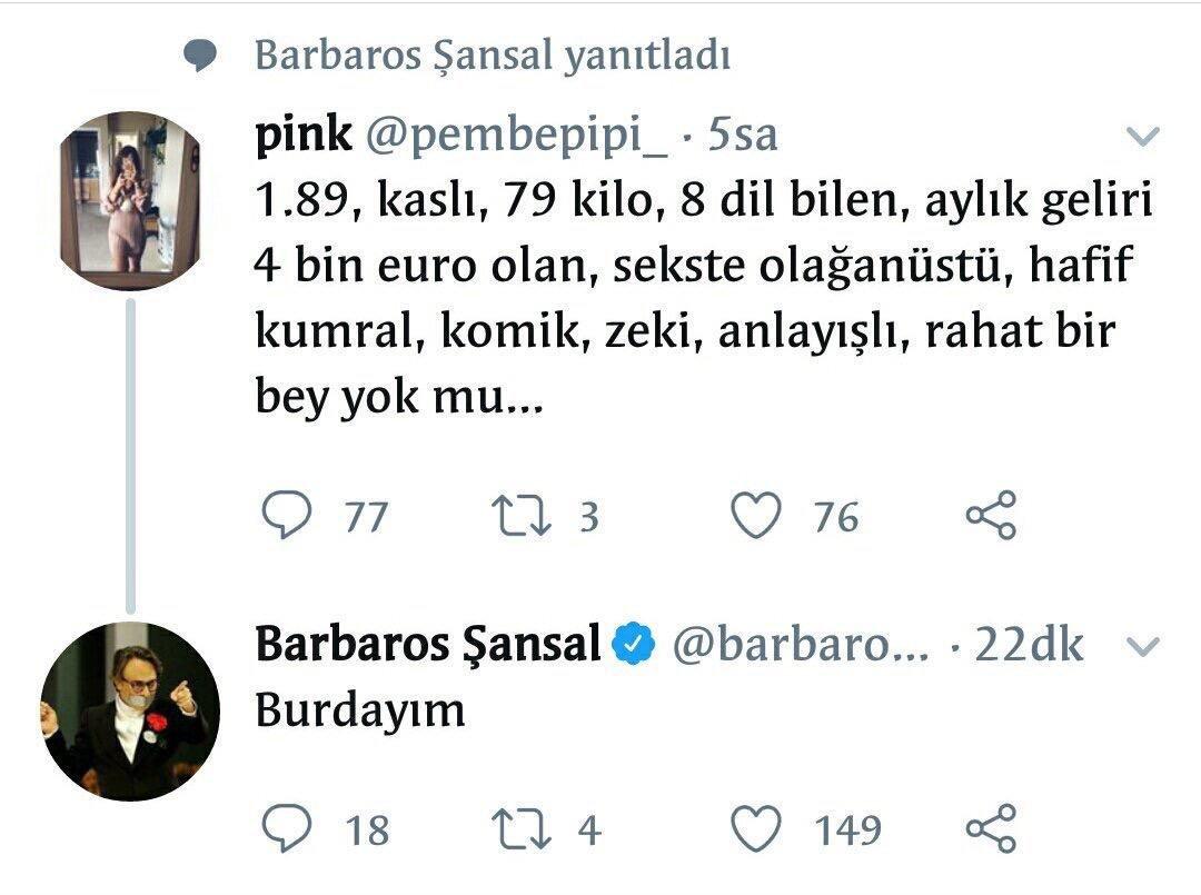 RT @nocontextamci: Barbaros Şansal ekmeğinin peşinde.. https://t.co/3ae4oGbTYo