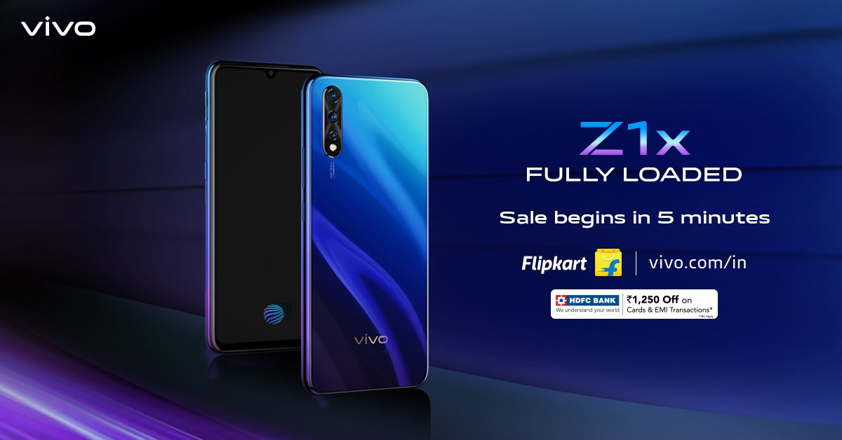 The most awaited #FullyLoaded #vivoZ1x SALE goes live in 5 minutes. Make the powerful #vivoZ1x with 22.5W vivo FlashCharge & 4500mAh Battery yours. Avail exciting offers on your purchase.Know more on @Flipkart : http://bit.ly/2kcszP1 or http://vivo.com/in