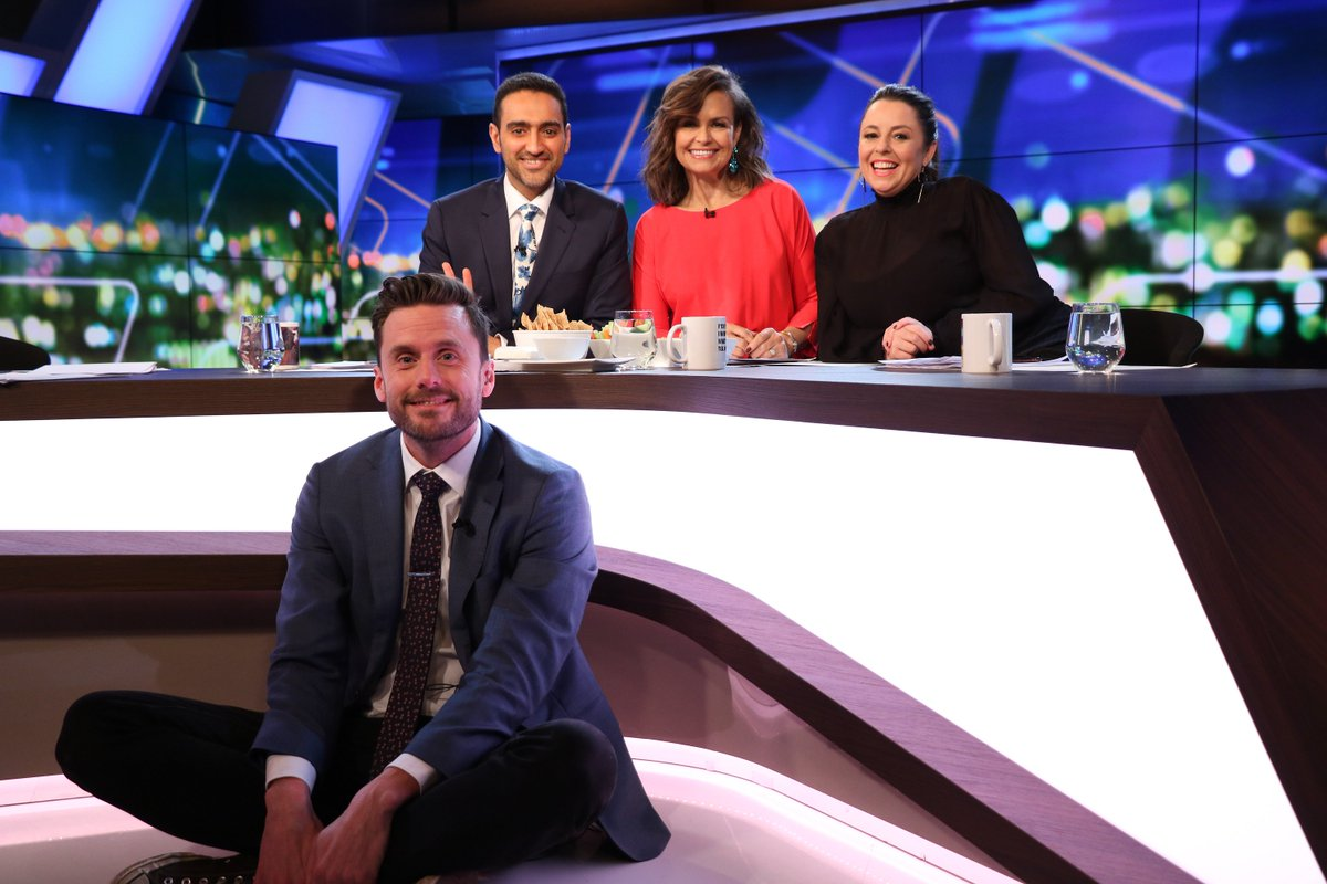 Waleed, Lisa and Myf are at the desk, and Thorno is on the floor... #TheProjectTV
