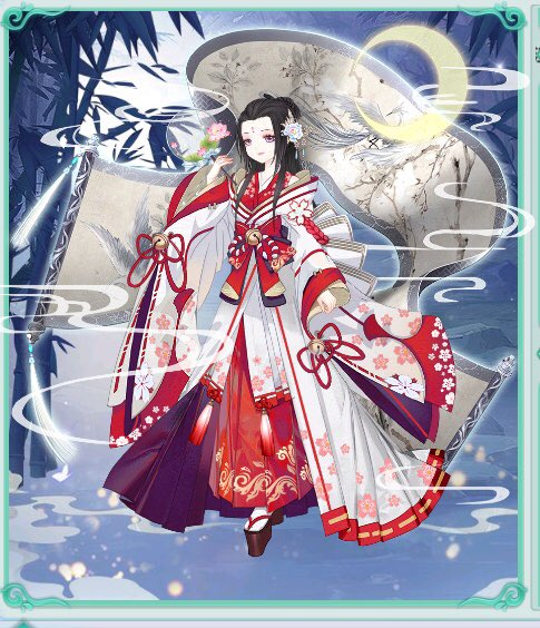 #宮廷女官 をプレイしています。#中秋節 にあうコーデはこちら!嫦娥奔月、日本の竹取物語と似てますね。という訳で絵巻物の中から出て来たかぐや姫のイメージで!平安の月見は月を直接見ず、水面に映るものを眺めたのだとか。DL:(GP) (IOS)