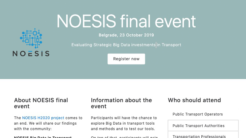 test Twitter Media - The NOESIS H2020 project comes to an end 🏁 and we will share our findings with the community. The NOESIS final event will take place in Belgrade on the 23rd of October 2019. Registration is now open: https://t.co/EquoewRgav   #bigdata #transport https://t.co/MCbQz4jNj5