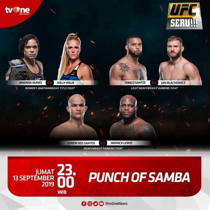 "Jangan lewatkan pertandingan seru dan panas di UFC Seru!!! ""Punch of Samba.Jumat, 13 September 2019 jam 23.00 hanya di tvOne & streaming tvOne connect, android http://bit.ly/2EMxVdm & ios http://apple.co/2CPK6U3#UFCSeru #PunchOfSamba"