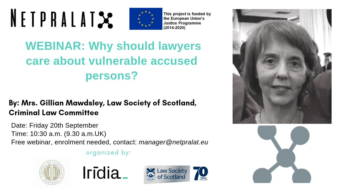 Join! #NetPraLat Webinar on vulnerable accused persons. Friday 20/09 at 10:30 Contact: manager@netpralat.eu <br>http://pic.twitter.com/wn2SUTeEdJ