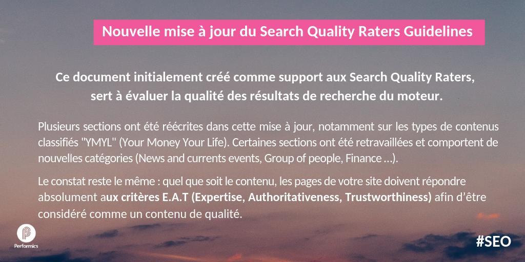 test Twitter Media - Nouvelle mise à jour du Search Quality Raters. Pour @Google, quel que soit le contenu, les pages de votre site doivent répondre absolument aux critères E.A.T (Expertise, Authoritativeness, Trustworthiness) afin d'être considéré comme un contenu de qualité https://t.co/WONHSscjgi https://t.co/nMlKAahlld