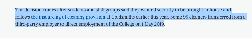 We also wont let @GoldsmithsUoL re-write the history of this campaign, removing key players. This decision comes from the workers joining @IWGBunion and demanding to be brought in house in January, It comes from @GoldAntiRacism forcing SMT to commit with militant protest ✊