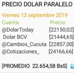 Image for the Tweet beginning: Promedio dolar paralelo  @DolarToday ,