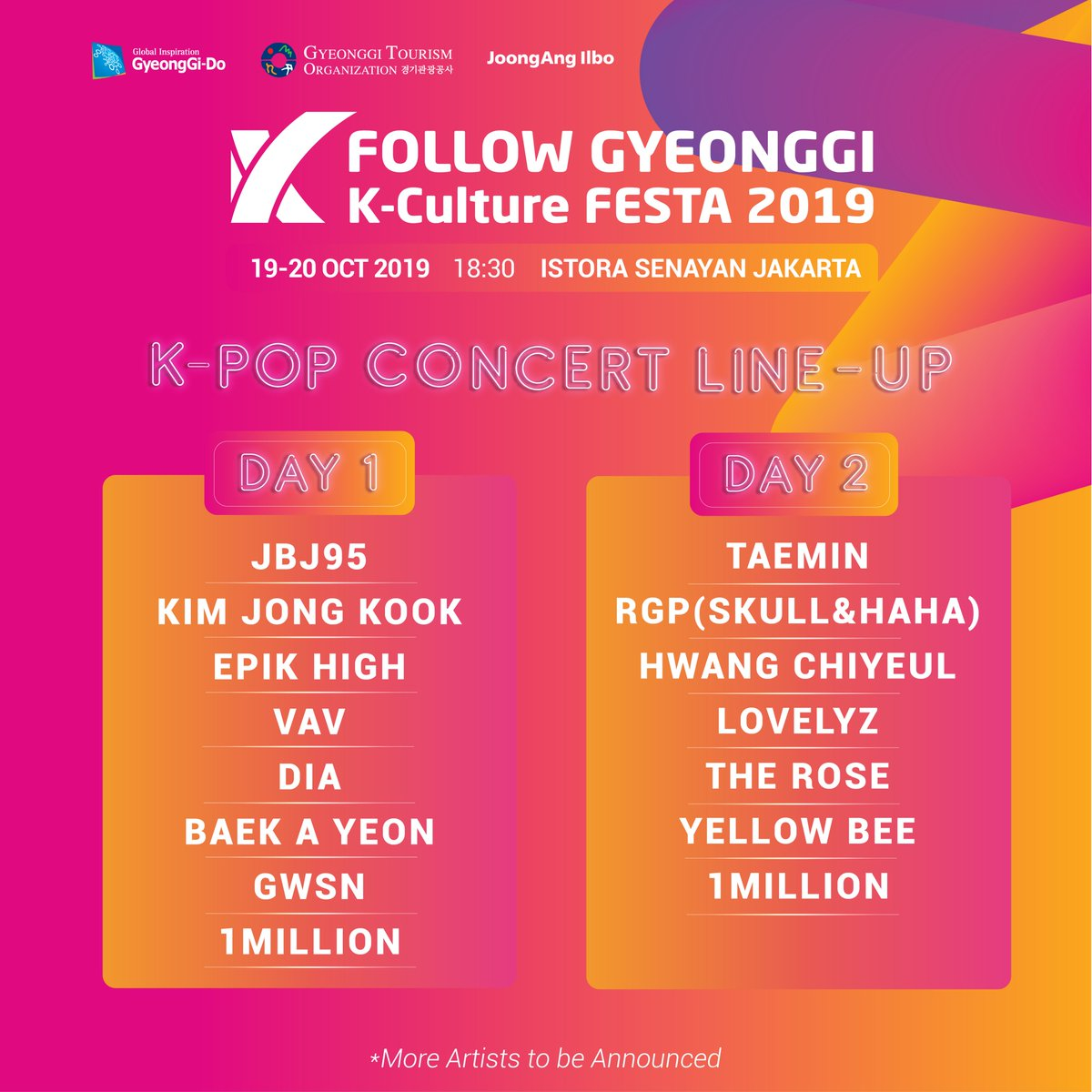 Annyeonghaseyo!  We are delighted to announce that Follow Gyeonggi K-Culture FESTA 2019 will be coming to Jakarta with many artists and fun experiences you can get. __  Save the date!   19-20 Oktober 2019  Istora Senayan - Jakarta  Tickets available soon, stay tuned! <br>http://pic.twitter.com/7ocvSt5jvM