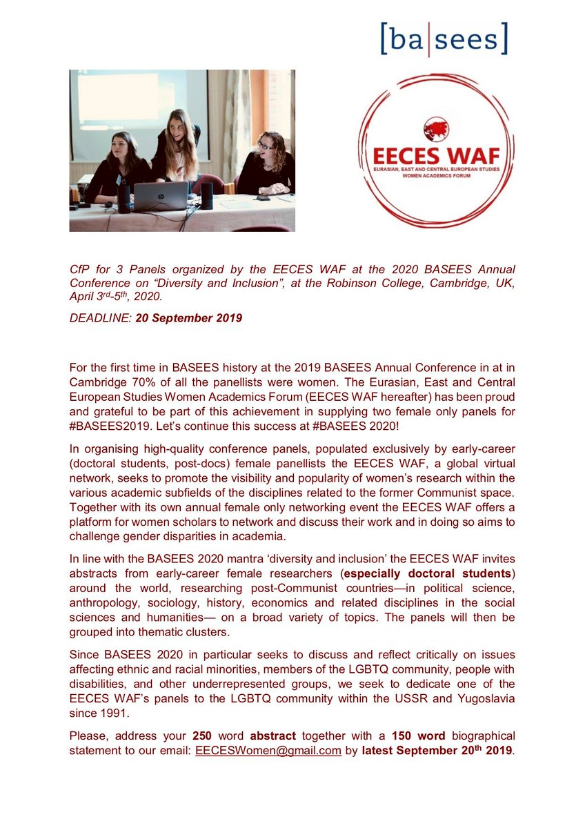 In light of the start-of-term preparations, we have extended our deadline to the 22nd September for #BASEES2019 📢‼️ Details below⬇️ @BASEES @aseeestudies @CRSCEES @UCLSSEES @CREESBham