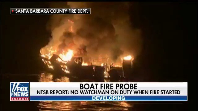 NTSB says the California dive boat crew did not have a required watchkeeper when the deadly fire broke out.