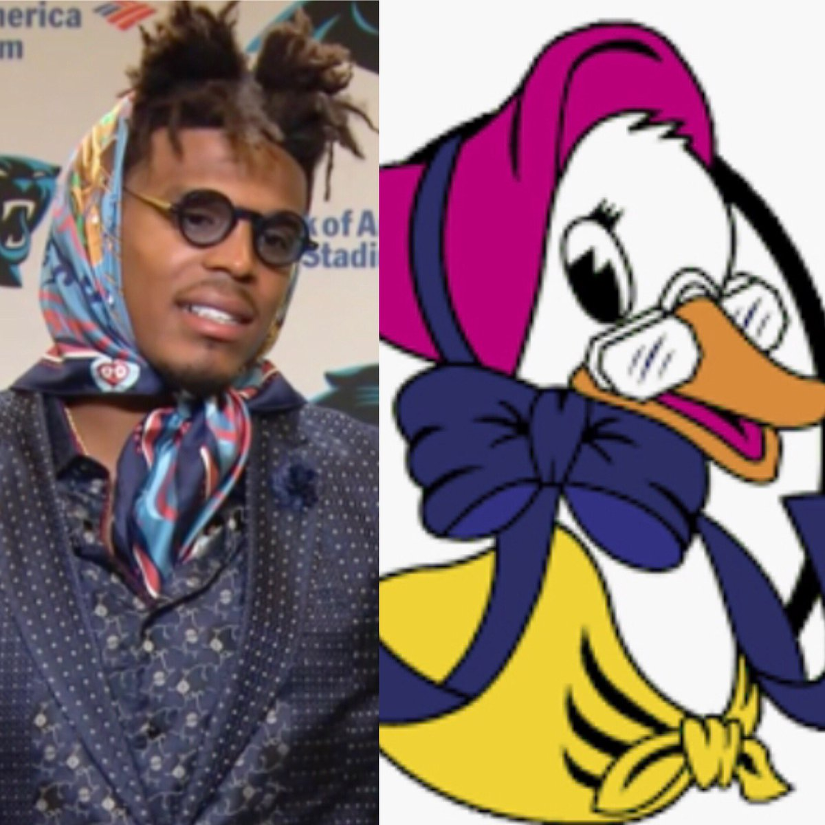 Cam Newton bringing Mother Goose chic to the post game press conference. #WakeUpCLT <br>http://pic.twitter.com/HjVj3x2tvS